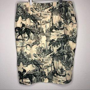 VTG Ralph Lauren Toile Equestrian Print Skirt 8